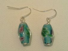 Blue flower lampwork earrings (2)